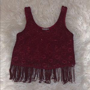 sequin top with fringe